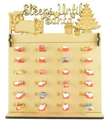 6mm Kinder Chocolate Bars Holder Advent Calendar with 'Sleeps Until Santa' Topper
