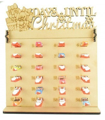 6mm Kinder Chocolate Bars Holder Advent Calendar with 'Days Until Christmas' Presents & Dog Topper
