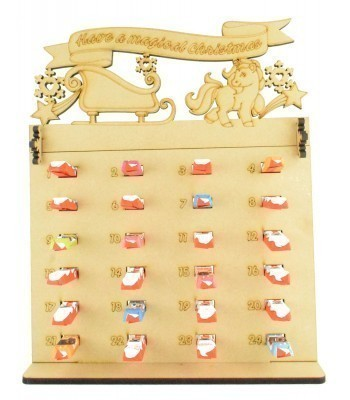 6mm Kinder Chocolate Bars Holder Advent Calendar with 'Have a magical Christmas' Unicorn & Sleigh Topper