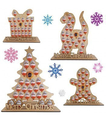 6mm Chocolate Orange & Kinder Egg Holder Advent Calendar on a Stand - BULK BUY MIXED PACK OF 4 SHAPES