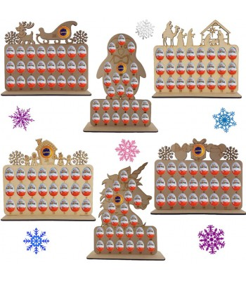 6mm Chocolate Orange & Kinder Egg Holder Advent Calendar on a Stand - BULK BUY MIXED PACK OF 4 PLAQUES