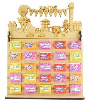 6mm Maoam Bloxx & Nerds Candy Sweets Holder Advent Calendar with 'Santas Workshop' Elf Boy Topper