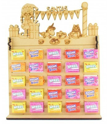 6mm Maoam Bloxx & Nerds Candy Sweets Holder Advent Calendar with 'Santas Workshop' Elf Girl Topper