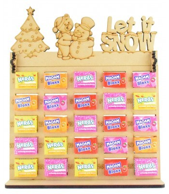 6mm Maoam Bloxx & Nerds Candy Sweets Holder Advent Calendar with 'Let it snow' Teddy & Snowman Topper
