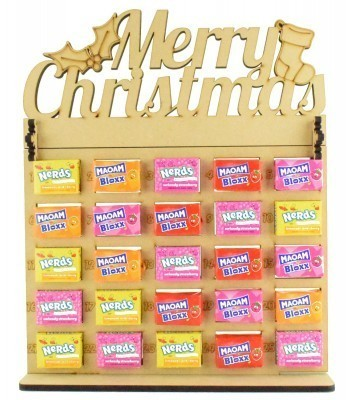 6mm Maoam Bloxx & Nerds Candy Sweets Holder Advent Calendar with 'Merry Christmas' Topper