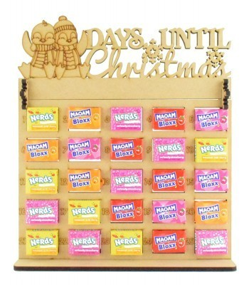 6mm Maoam Bloxx & Nerds Candy Sweets Holder Advent Calendar with 'Days Until Christmas' Penguins Topper