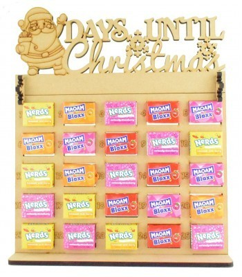6mm Maoam Bloxx & Nerds Candy Sweets Holder Advent Calendar with 'Days Until Christmas' Santa Topper