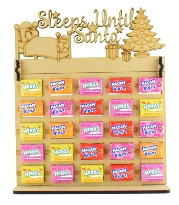 6mm Maoam Bloxx & Nerds Candy Sweets Holder Advent Calendar with 'Sleeps Until Santa' Topper