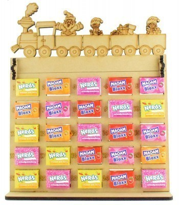 6mm Maoam Bloxx & Nerds Candy Sweets Holder Advent Calendar with Christmas Train Topper