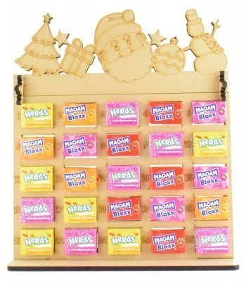 6mm Maoam Bloxx & Nerds Candy Sweets Holder Advent Calendar with Christmas Shapes Topper
