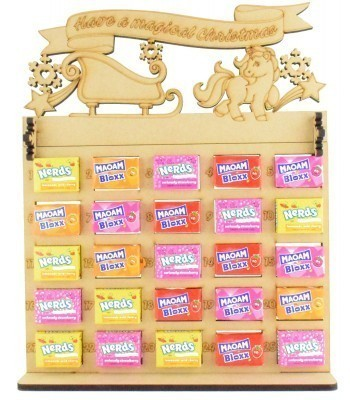 6mm Maoam Bloxx & Nerds Candy Sweets Holder Advent Calendar with 'Have a magical Christmas' Unicorn & Sleigh Topper