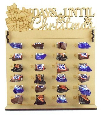 6mm Mars, Snickers and Milkyway Chocolate Bars Funsize Minis Holder Advent Calendar with 'Days Until Christmas' Presents & Dog Topper