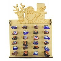 6mm Mars, Snickers and Milkyway Chocolate Bars Funsize Minis Holder Advent Calendar with Rudolph, Santa & Snowman Topper