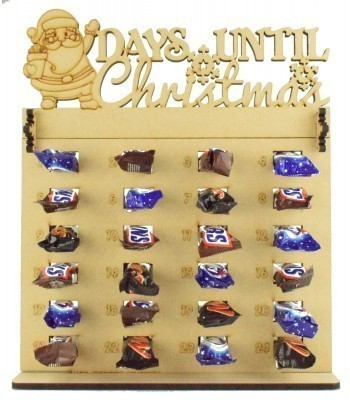 6mm Mars, Snickers and Milkyway Chocolate Bars Funsize Minis Holder Advent Calendar with 'Days Until Christmas' Santa Topper