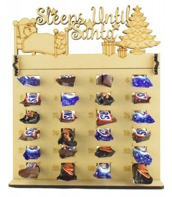 6mm Mars, Snickers and Milkyway Chocolate Bars Funsize Minis Holder Advent Calendar with 'Sleeps Until Santa' Topper