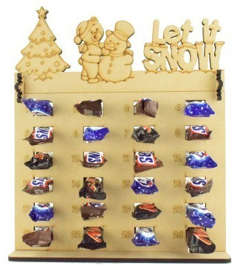 6mm Mars, Snickers and Milkyway Chocolate Bars Funsize Minis Holder Advent Calendar with 'Let it snow' Teddy & Snowman Topper
