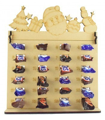 6mm Mars, Snickers and Milkyway Chocolate Bars Funsize Minis Holder Advent Calendar with Christmas Shapes Topper