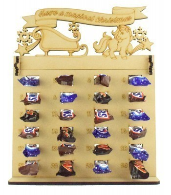 6mm Mars, Snickers and Milkyway Chocolate Bars Funsize Minis Holder Advent Calendar with 'Have a magical Christmas' Unicorn & Sleigh Topper