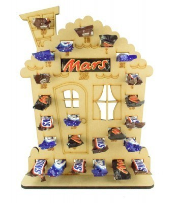 6mm Mars, Snickers and Milkyway Chocolate Bars Funsize Minis Holder Advent Calendar - Gingerbread House