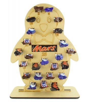 6mm Mars, Snickers and Milkyway Chocolate Bars Funsize Minis Holder Advent Calendar - Boy Penguin