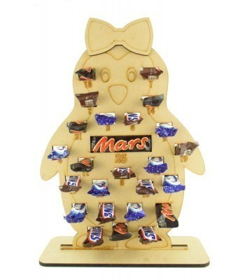6mm Mars, Snickers and Milkyway Chocolate Bars Funsize Minis Holder Advent Calendar - Girl Penguin