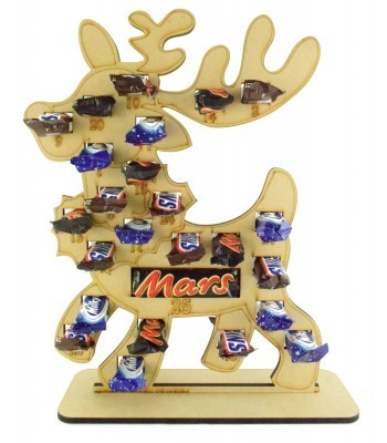 6mm Mars, Snickers and Milkyway Chocolate Bars Funsize Minis Holder Advent Calendar - Reindeer