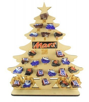 6mm Mars, Snickers and Milkyway Chocolate Bars Funsize Minis Holder Advent Calendar - Christmas Tree