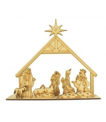 Laser cut 3D Nativity Scene on a Stand