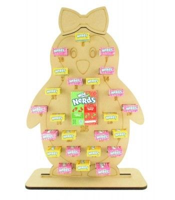 6mm Nerds Candy Sweets Holder Advent Calendar - Girl Penguin