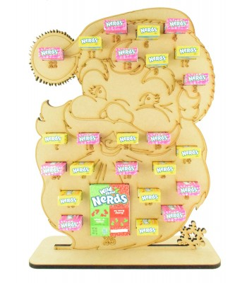 6mm Nerds Candy Sweets Holder Advent Calendar - Santa Head
