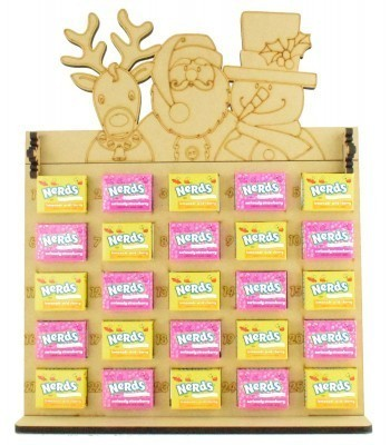 6mm Maoam Bloxx & Nerds Candy Sweets Holder Advent Calendar with Rudolph, Santa & Snowman Topper