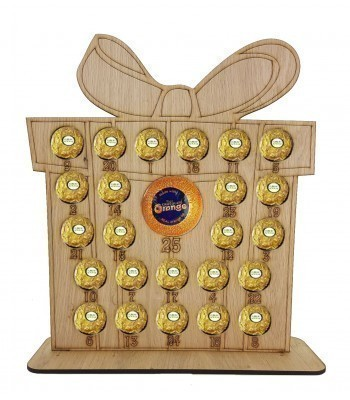 4mm Oak Veneer Christmas Present Chocolate Orange and Ferrero Rocher Holder Advent Calendar