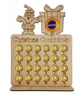 4mm Oak Veneer Santa & Present 'Christmas Countdown' Chocolate Orange and Ferrero Rocher Holder Advent Calendar