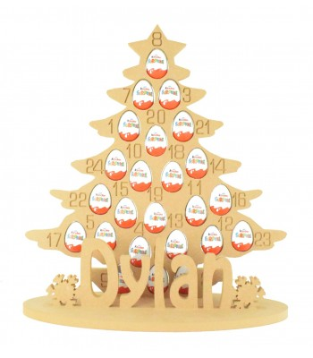 Super sized 18mm Freestanding Kinder Egg Christmas Tree Advent Calendar with Personalised Name