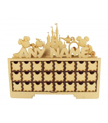 Laser Cut Personalised Christmas Rectangle 24 Drawer Advent Calendar Drawers with Magic Castle Shapes