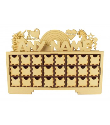 Laser Cut Personalised Christmas Rectangle 24 Drawer Advent Calendar Drawers with Unicorn Shapes