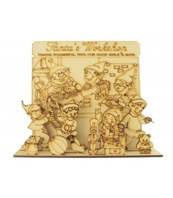 Laser cut 3D Santas Workshop Christmas Scene on a Stand