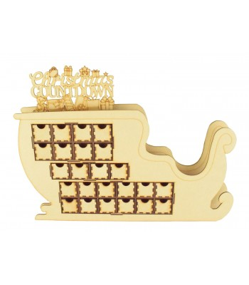 Laser Cut 3D Santa Sleigh Christmas Advent Calendar with 'Christmas Countdown' on Top - Options