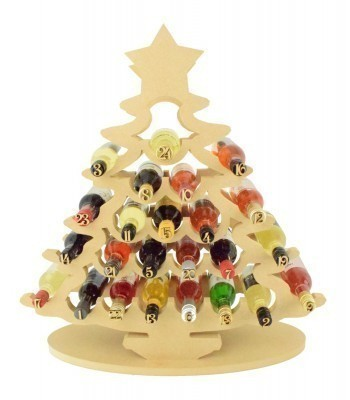 Super sized 18mm Freestanding Christmas Tree Wine Holder Advent Calendar - To fit Miniature Wine Bottles