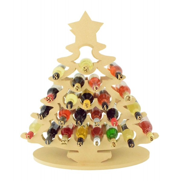 super sized 18mm freestanding christmas tree wine holder advent calendar to fit miniature wine bottles