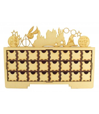 Laser Cut Christmas Rectangle 24 Drawer Advent Calendar Drawers with Wizard Shapes