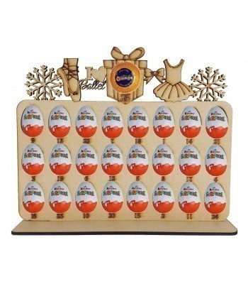 6mm Ballet Shapes Plaque Chocolate Orange & Kinder Egg Holder Advent Calendar on a Stand