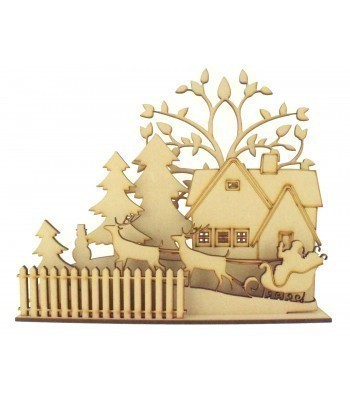 Laser cut 3D Christmas Scene on a Stand With Dogs of your choice