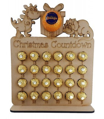 6mm Dinosaur Shapes Plaque Chocolate Orange and Ferrero Rocher Holder Advent Calendar