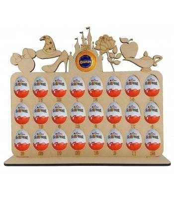 6mm Magic Castle Shapes Plaque Chocolate Orange & Kinder Egg Holder Advent Calendar on a Stand - BULK BUY PACK OF 4