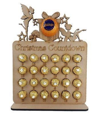 6mm Fairy Shapes Plaque Chocolate Orange and Ferrero Rocher Holder Advent Calendar