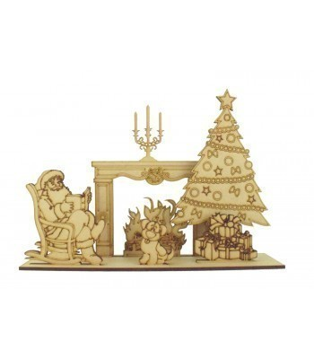 Laser cut 3D Santas House Christmas Scene on a Stand