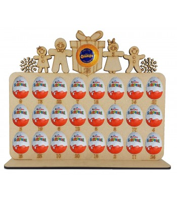 6mm Gingerbread Family Plaque Chocolate Orange & Kinder Egg Holder Advent Calendar on a Stand - Options