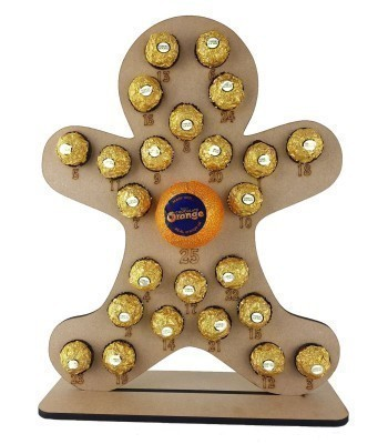 6mm Gingerbread man Chocolate Orange and Ferrero Rocher Holder Advent Calendar
