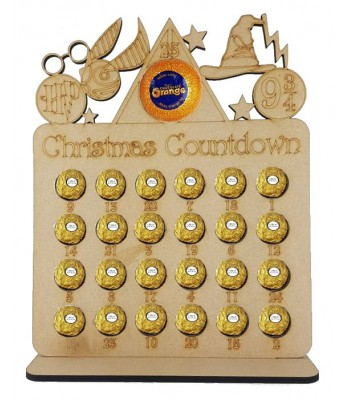 6mm Wizard Shapes Plaque Chocolate Orange and Ferrero Rocher Holder Advent Calendar BULK BUY PACK OF 8